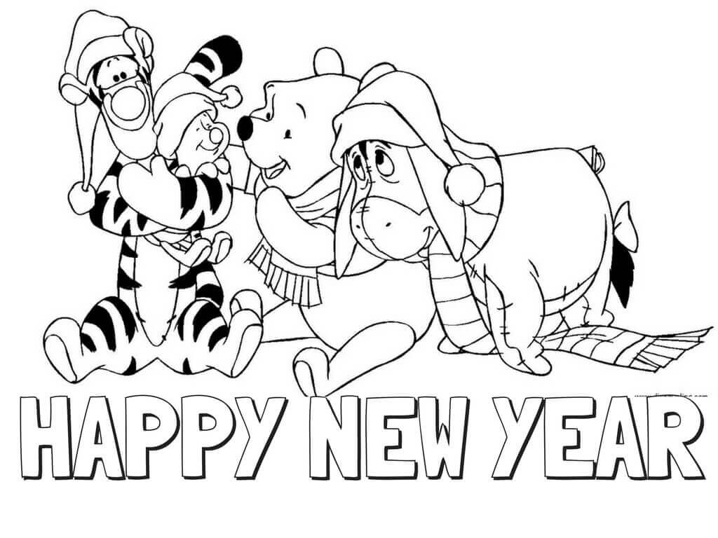 Winnie The Pooh New Year Coloring Page