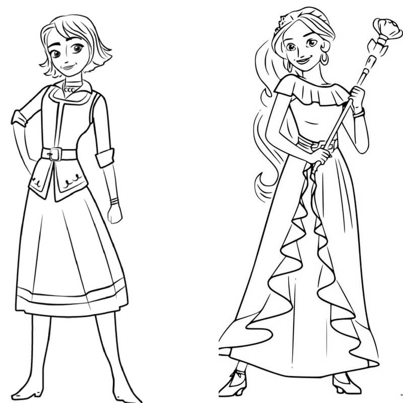 Elena of Avalor and Naomi coloring page