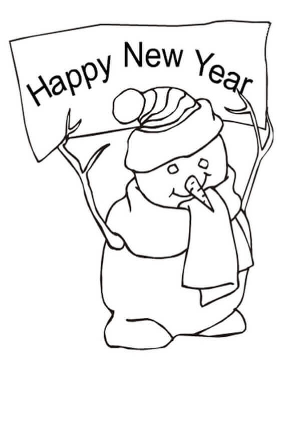 Snowman Wishing Happy New Year Coloring Page