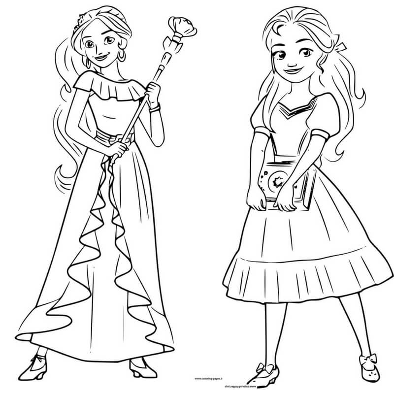 Elena of Avalor and isabel coloring page
