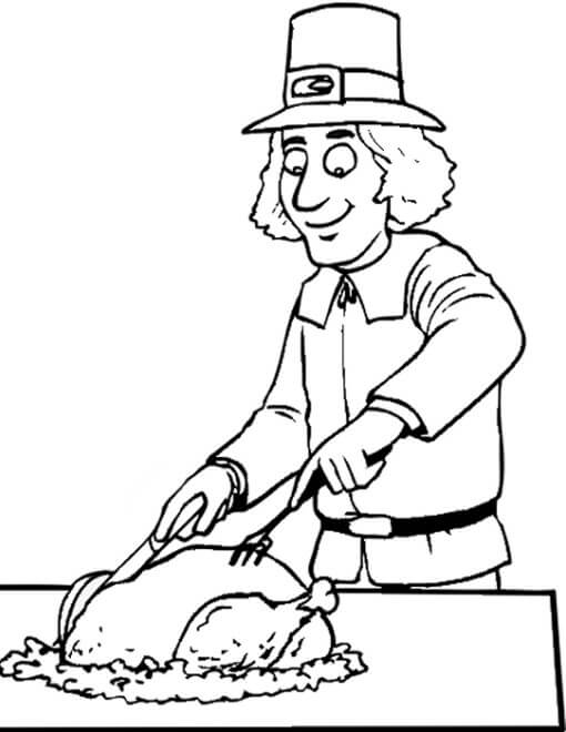 Pilgrim Thanksgiving coloring pages