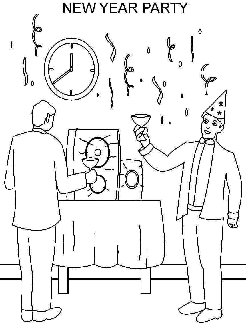 New Year Party Happy New Year Coloring Pages