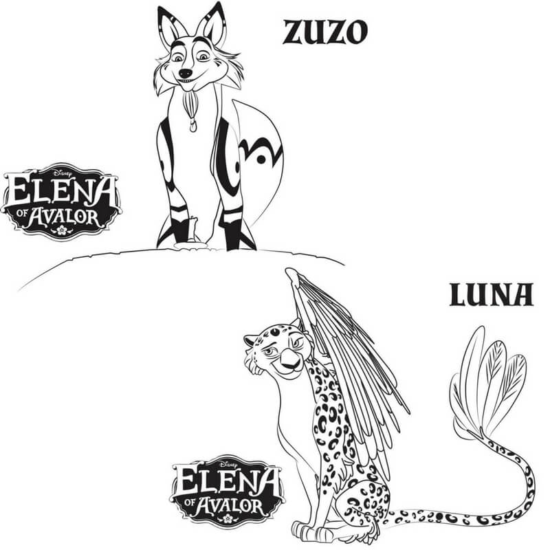 Zuzo And Luna Elena of Avalor coloring pages