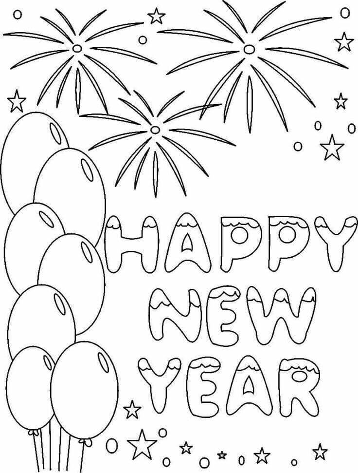 New Year Card Coloring Page
