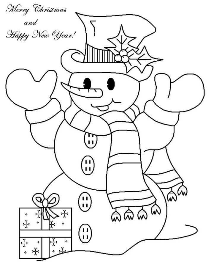 Snowman Wishing Happy New Year Coloring Pages