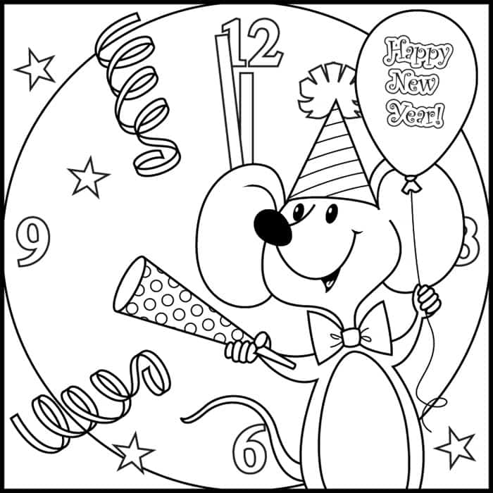 Mouse's New Year Coloring Pages