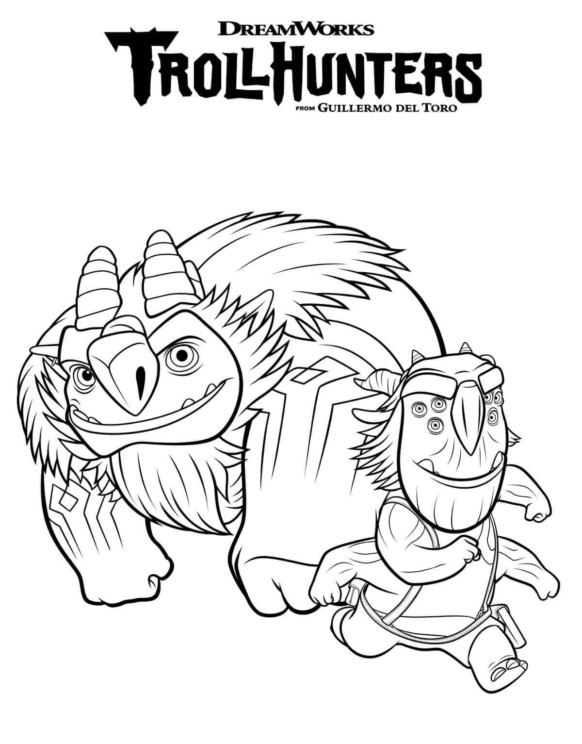 Blinky and AAARRRGGHH TrollHunters Coloring Page