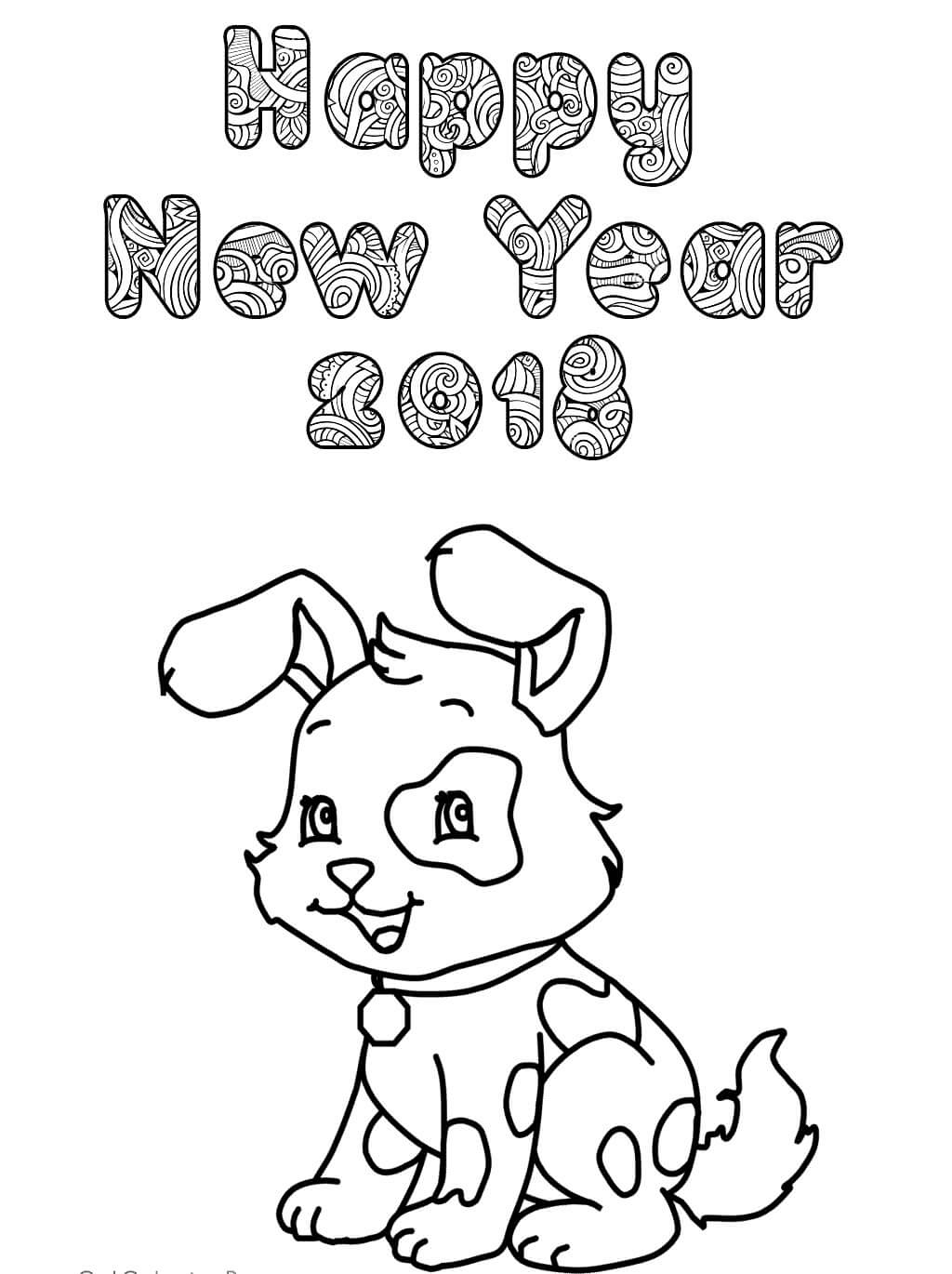 Chinese New Year 2018 Coloring Page