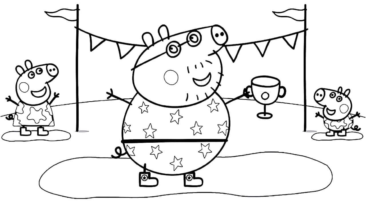 Daddy Pig With Peppa Coloring Page