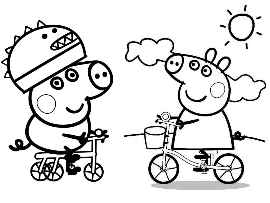 George Pig And Peppa Pig Coloring Page