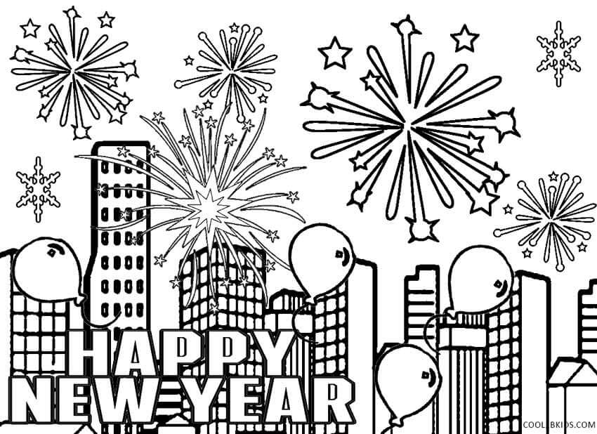Happy New Year 2018 Fireworks Coloring Page