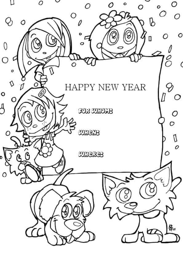 Happy new year 2018 party invite coloring page