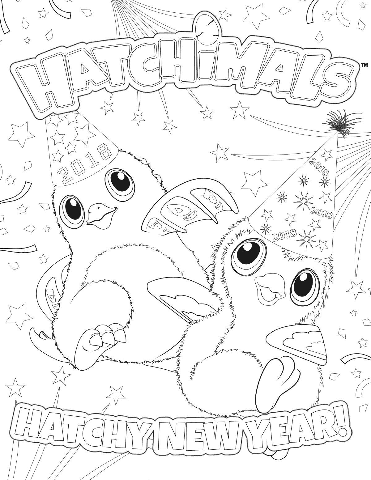 Hatchimals Happy New Year 2018 Coloring Page