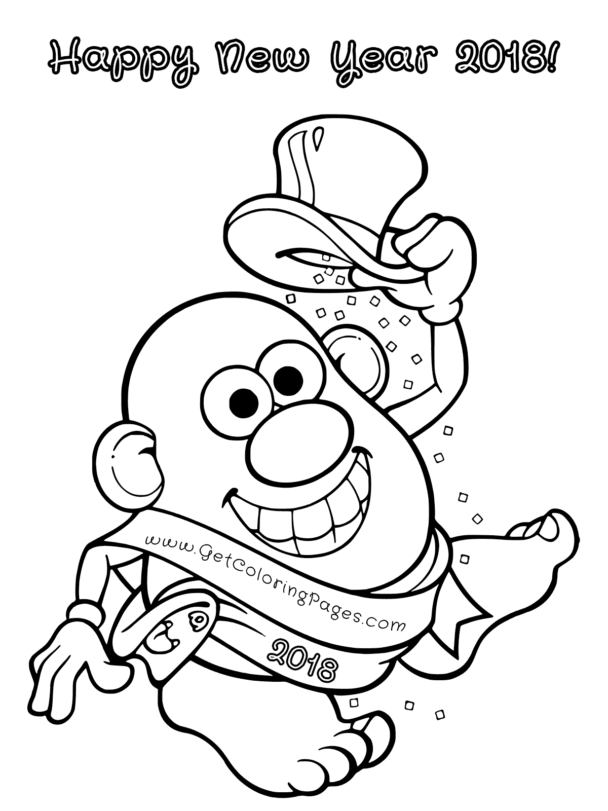 Mr. Potato Head New Year 2018 Coloring Page