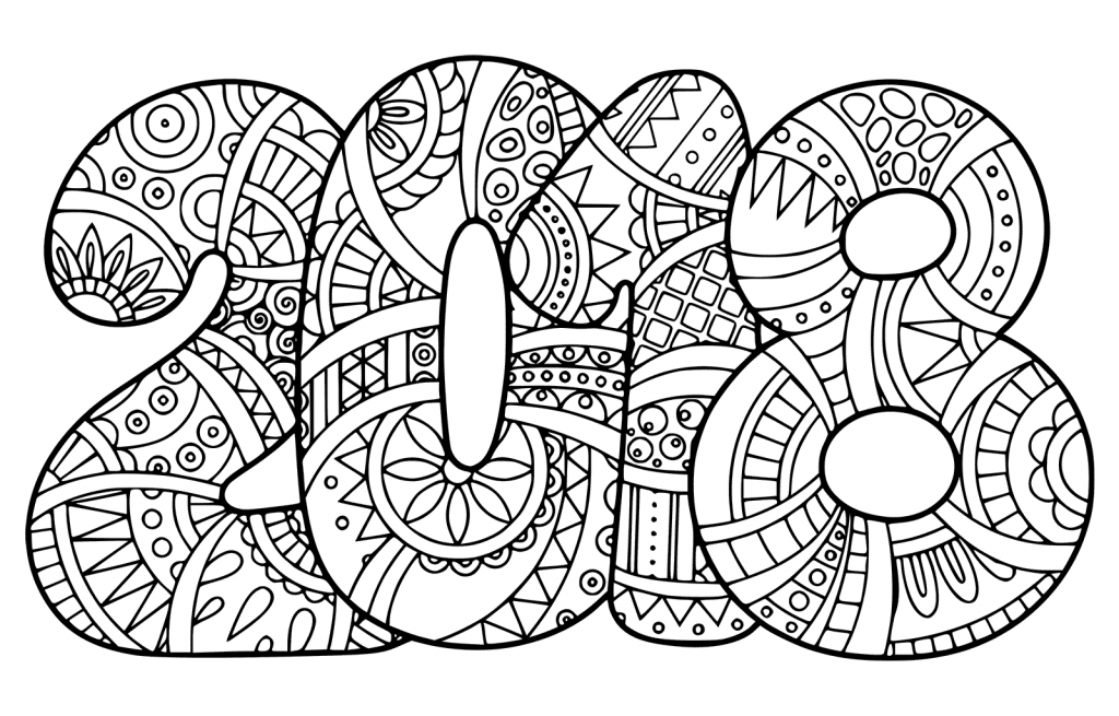 Printable New Year 2018 Coloring Pages Coloring Page