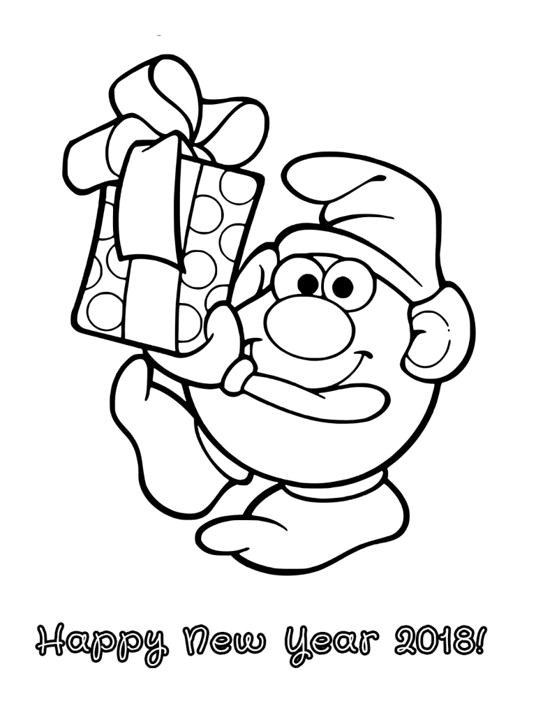 Printable New Year 2020 Coloring Pages