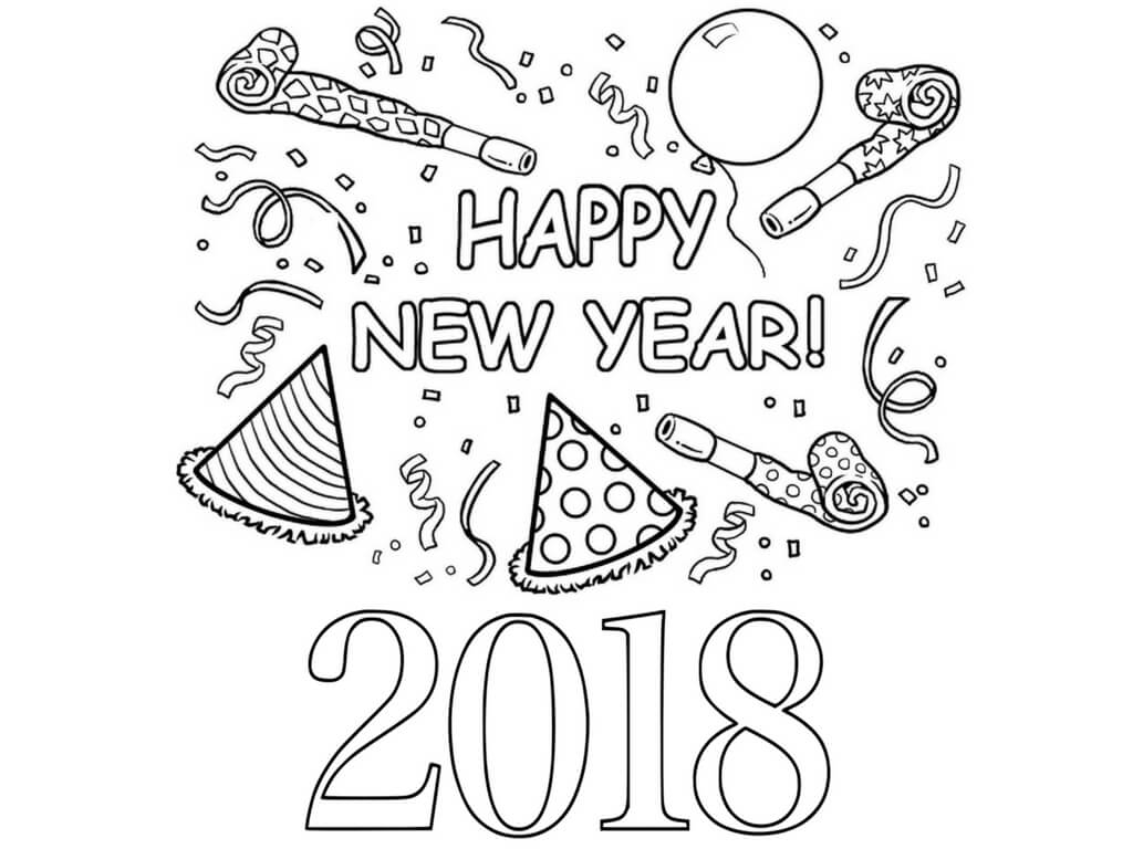 New Year 2018 Coloring Page To Print