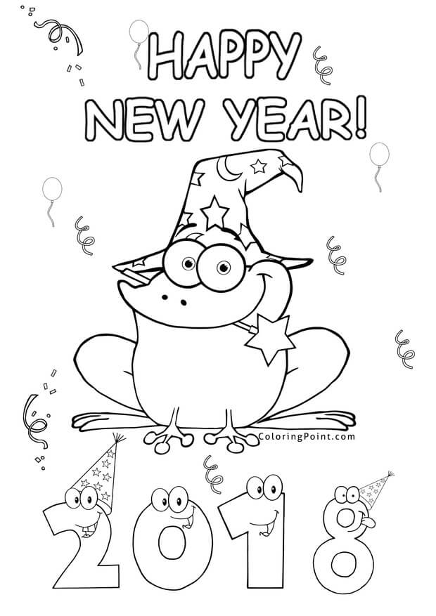 New Year 2018 Frog Coloring Page