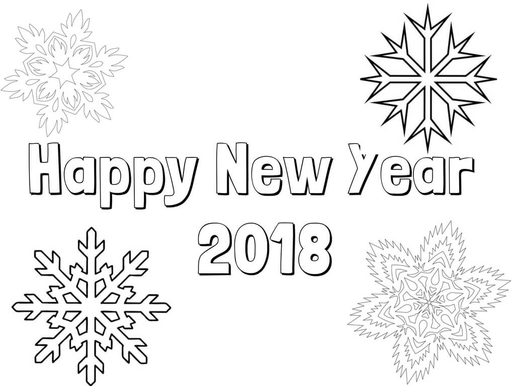 New Year 2018 Snowflake coloring page