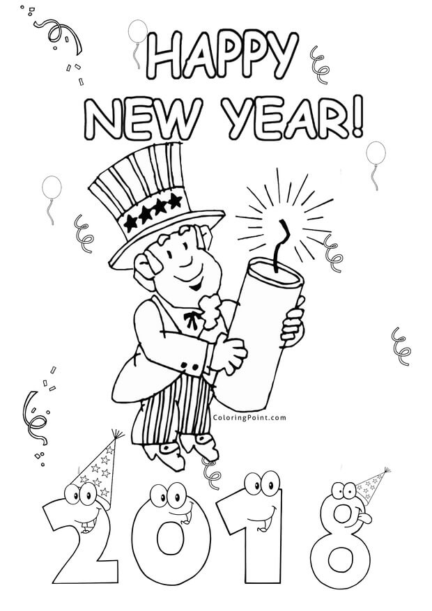 New Year 2018 fireworks coloring page