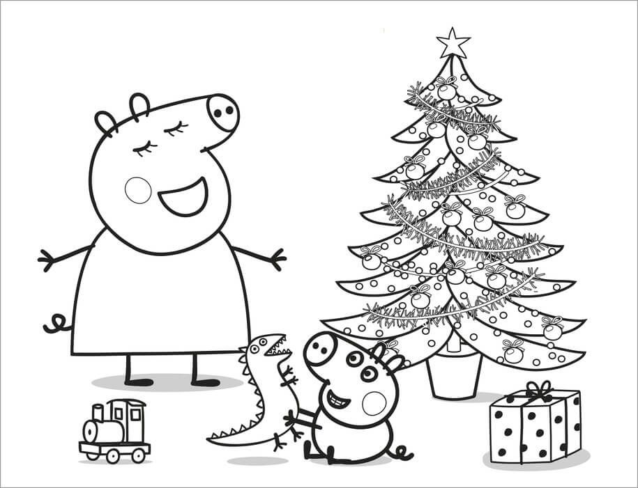 Peppa Pig Christmas Coloring Page