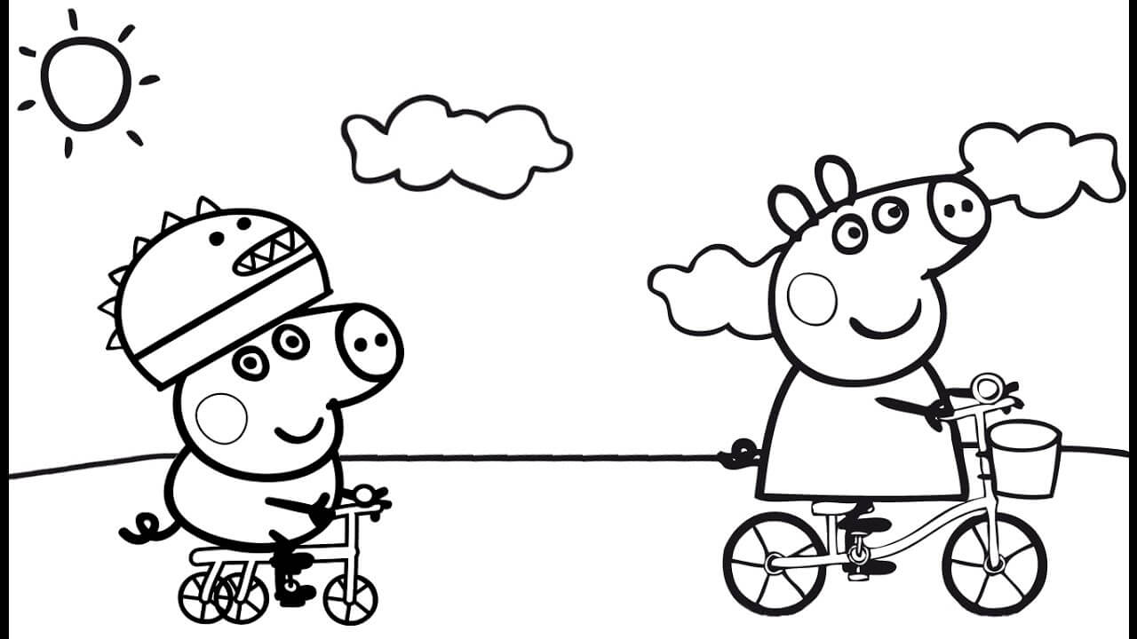 Peppa Pig Cycling With George Coloring Page