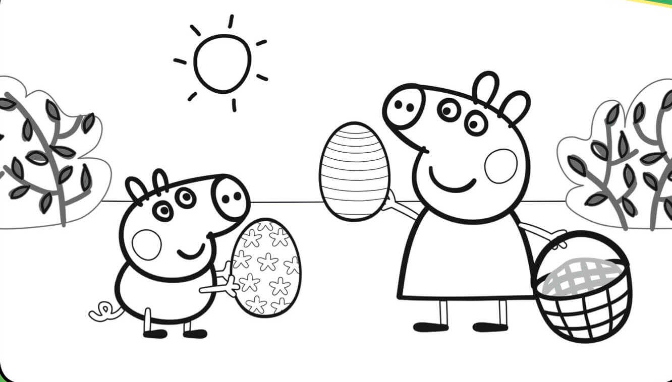 Peppa Pig Easter Coloring Page