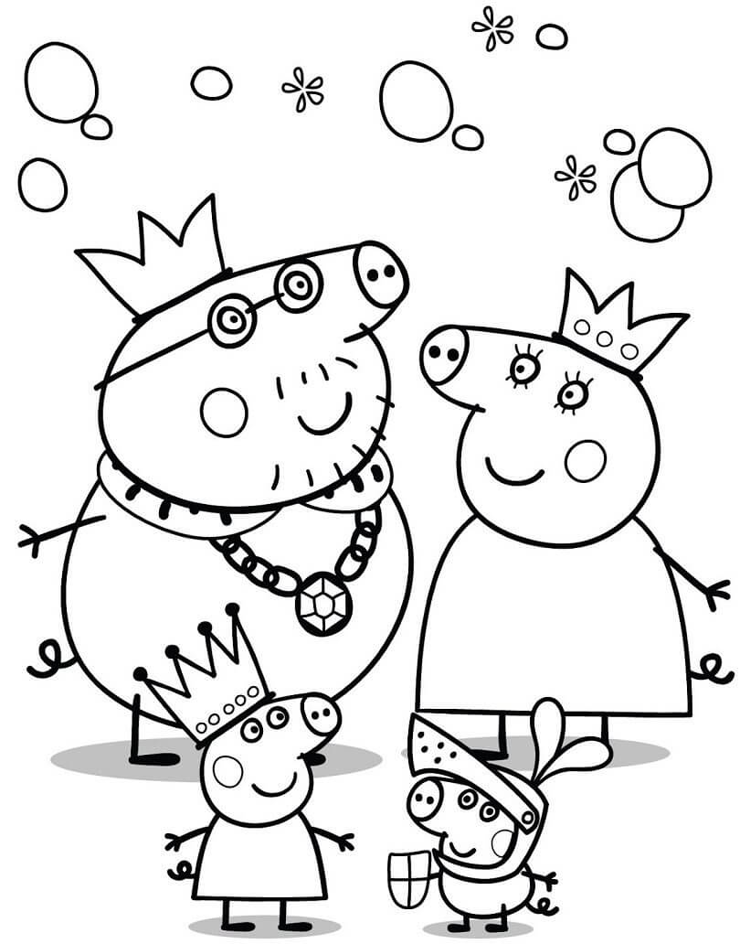 Peppa Pig Family Coloring Page