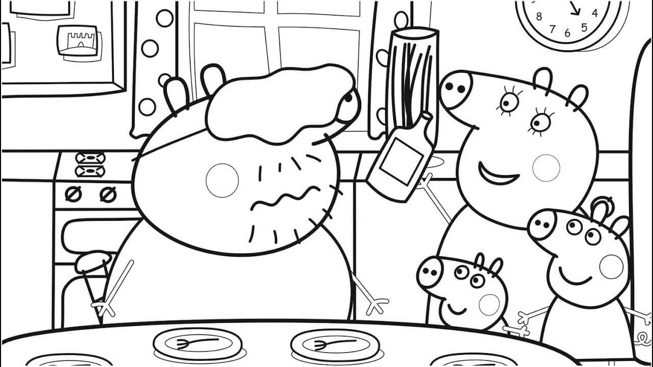 Peppa Pig Family Making Food Coloring Page