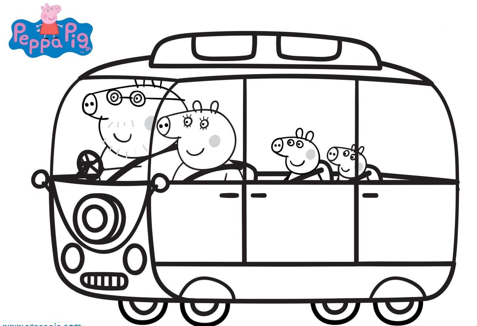 Peppa Pig Family Traveling Coloring Page