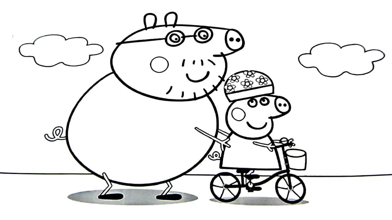 Peppa Pig With Daddy Coloring Page