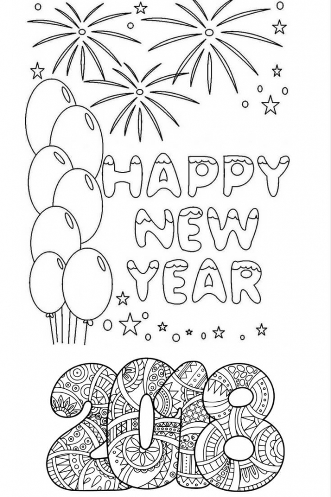 Printable New Year 2018 Coloring Page