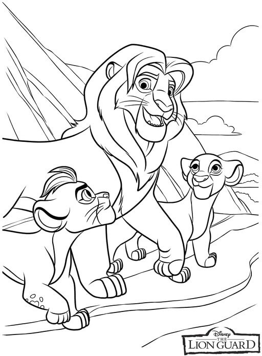 Simba Kiara and Kion Coloring Page
