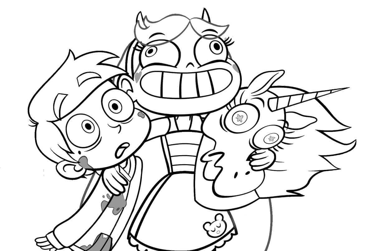 Star, Pony Head And Marco Coloring Page