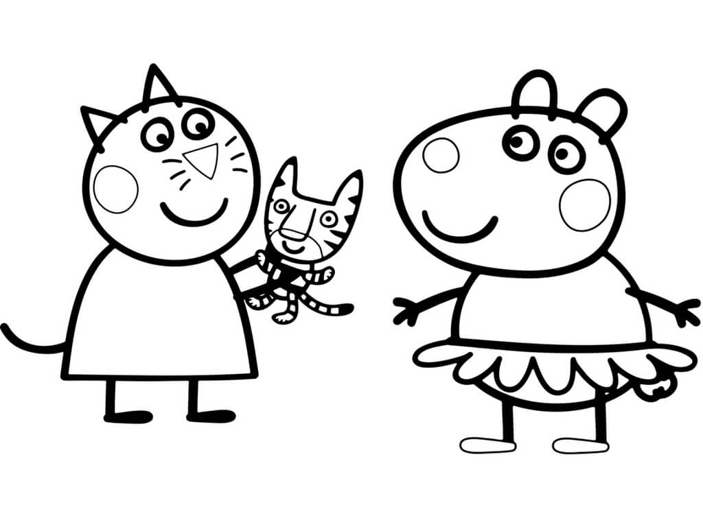 Suzy And Candy In Peppa Pig Coloring Page
