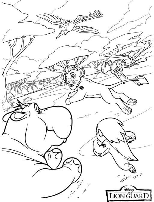 The Lion Guard Cast Having Fun Coloring Page