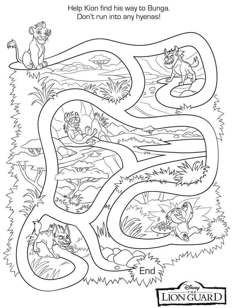 The Lion Guard Maze Coloring Sheet
