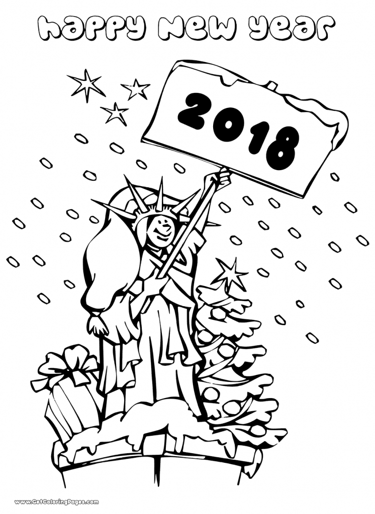 The Statue Of Liberty New Year 2018 Coloring Page