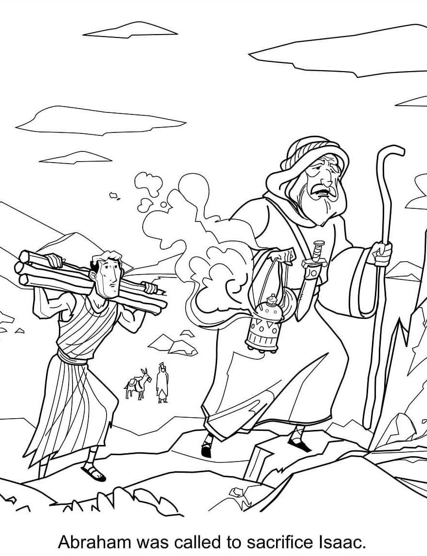 Abraham Sacrificing Isaac Sunday School Coloring Page