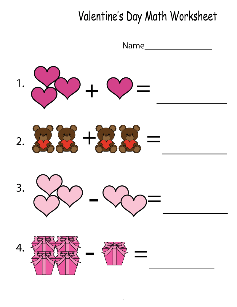 Addition And Subtraction Kindergarten Math Worksheet