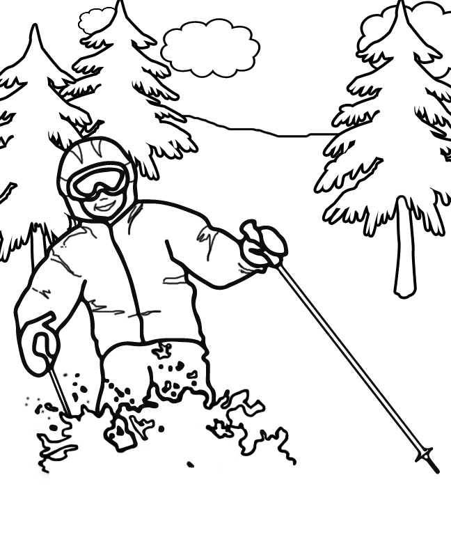 Alpine Skiing Winter Olympics Coloring Pages