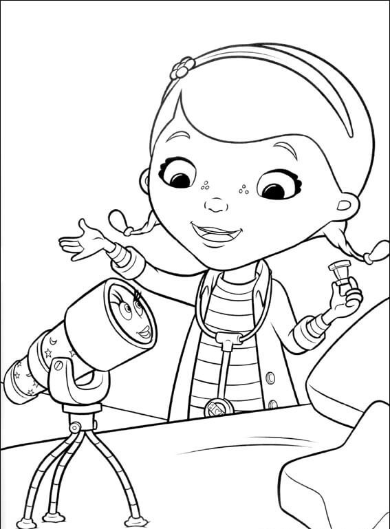 Aurora the Telescope And Doc McStuffins coloring page