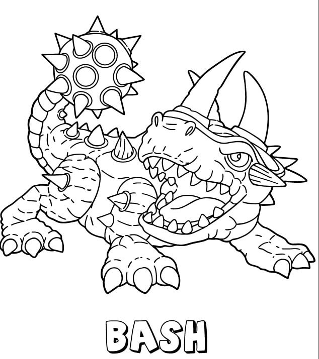 Bash from Skylanders Coloring Pages free printable