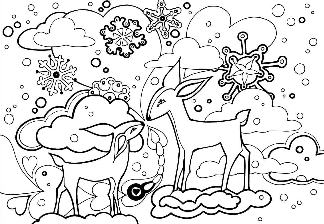 It is a graphic of Candid Snow Coloring Page