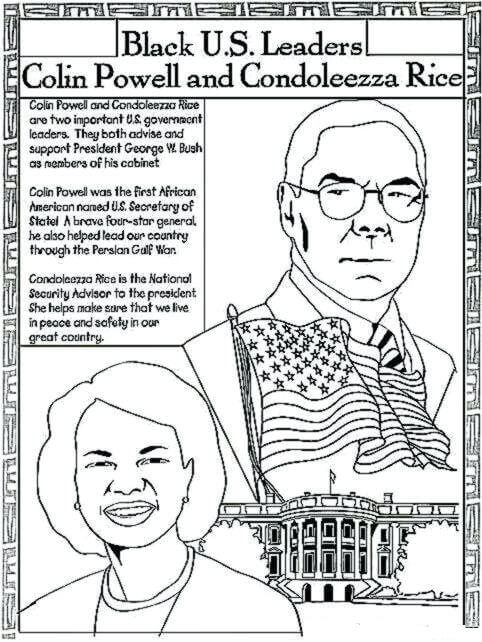 Black History Month Coloring Pages Black US Leaders