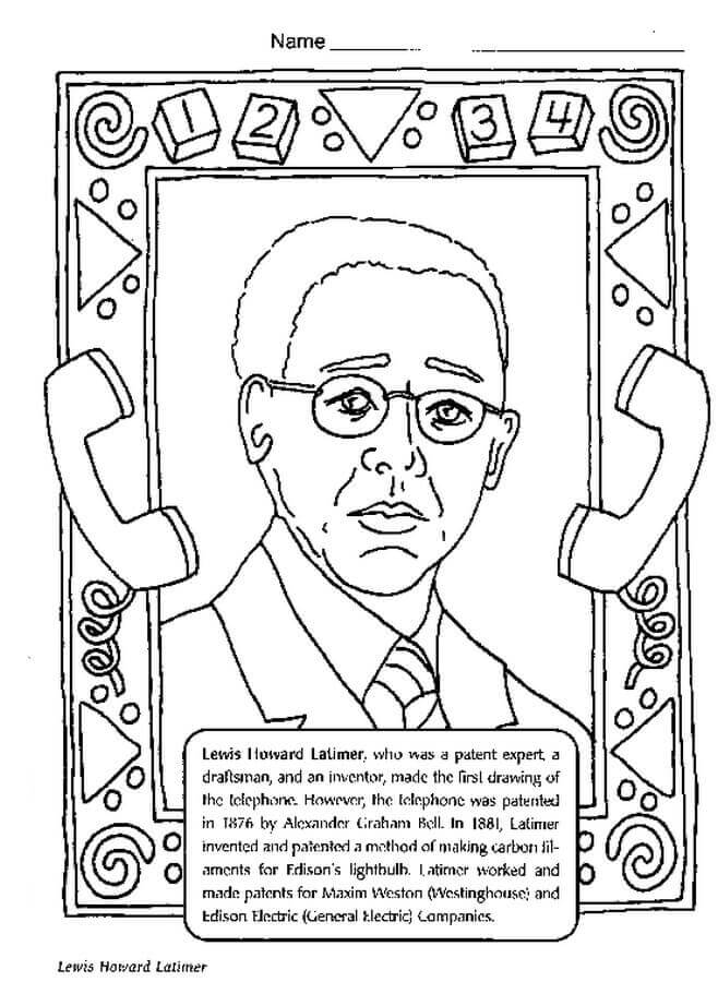 Black History Month Coloring Pages Lewis Howard Latimer
