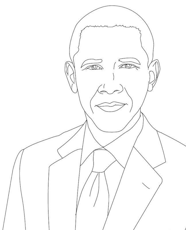 Black Month Coloring Pages Barack Obama