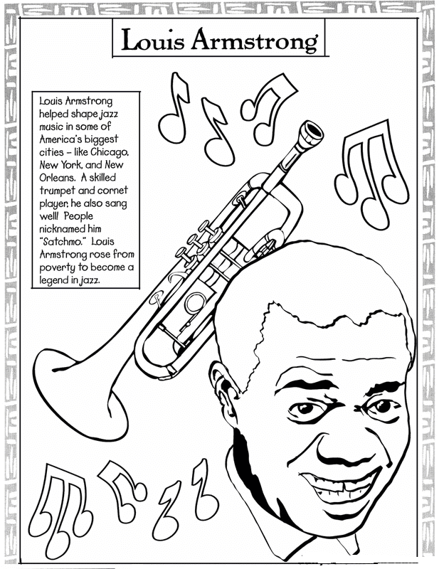 Black Month Coloring Sheets Louis Armstrong