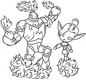 Blast Zone and Mini Jini Skylanders Coloring Pages