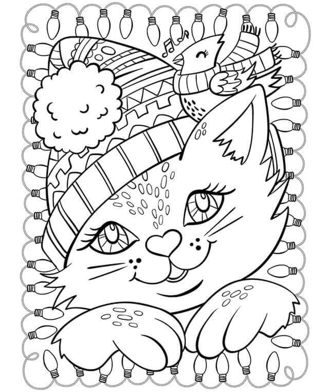 Cat And Cardinal Winter Coloring Page